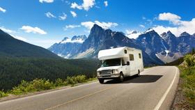 Motorhome driving through mountains h article