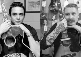 Johnny cash and nicholas pell with guitars 420x294 article