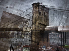 Tent camera image on ground rooftop view of the brooklyn bridge brooklyn side article