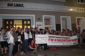 Celebration outside die linke headquarters article