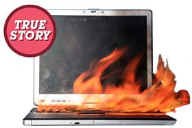 Burning laptop article