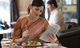 A woman in a restaurant 009 article