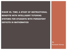 Rigor vs time a study of instructional benefits with intelligent tutoring systems for students with persistent deficits in mathematics 1 638 article