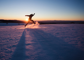 Winter fun snow adventure wander silly jump outdoors nature article