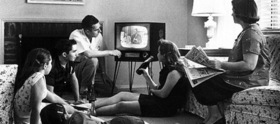 Family watching television 1958 article