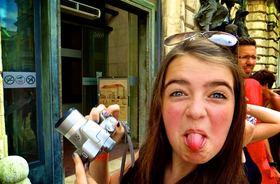 Budapest woman camera tongue article
