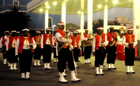 Barbados defence force band in traditional zouave uniform article