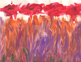 Red flowers in orange and purple grass by tammyruggles d666zhz article