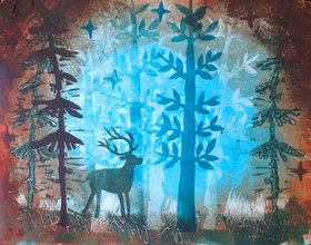 Deer monoprint by usartdude d56keit article