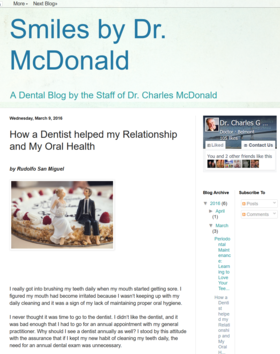 Online writing sample  how a dentist helped my relationship and my oral health   office of dr. charles mcdonald  ddsa article
