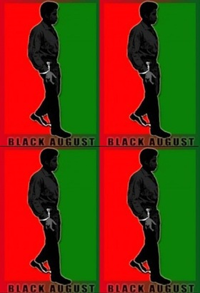 Black august george jackson against red green background article