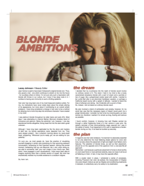 Mirabella magazine   blonde ambitions   lacey johnson article