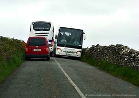 Buses near cliffs of moher article
