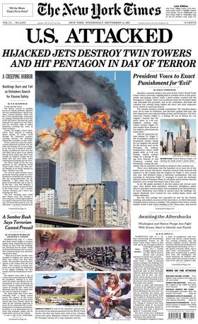 New york times cover on september 12  2001 article