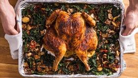 Feature spatchcock roast chicken lemon mushrooms garlic kale recipe cooking video1 article