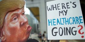 Donald trump health care protest signs article