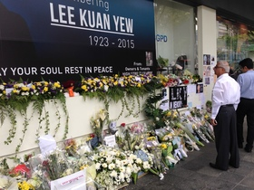 Floral tributes to lee kuan yew outside high street centre  singapore   20150327 article
