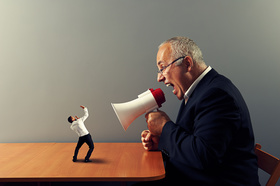 Huge boss manager megaphone small person article