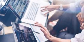 Digital marketing strategies laptop and tablet article