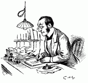 Man with glass writing at desk clerk thank you card paying bills dot is pen ink drawing article