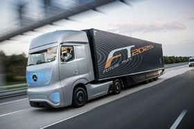 Mercedes benz future truck 2025 front three quarters in motion view article