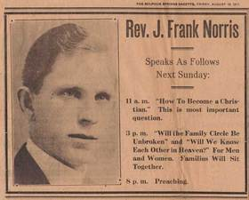 J frank norris clipping article