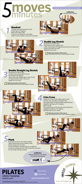 5 moves 5 minutes west town pilates strengthen your core infographic hi res article