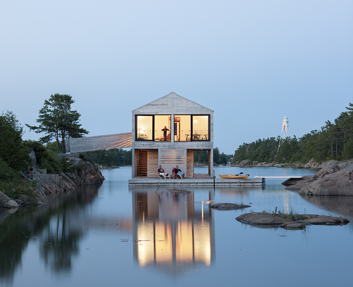 Floating House in Lake Huron Canada