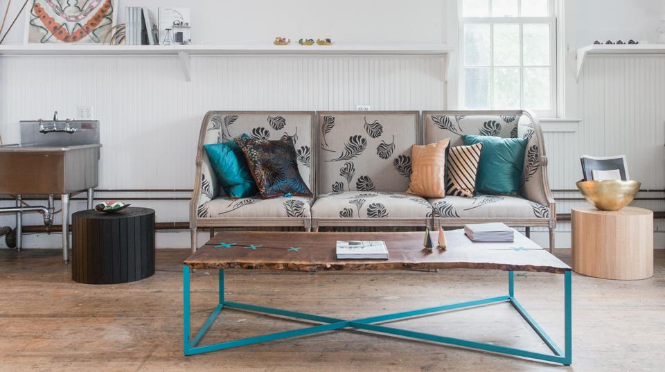 Indoor beachwood coffee table