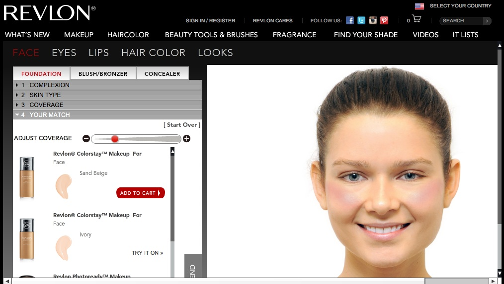 Revlon virtual makeover