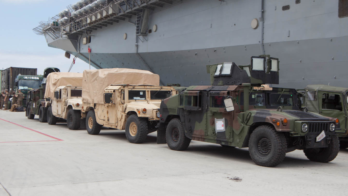 Humvees at the White Beach Naval Facility