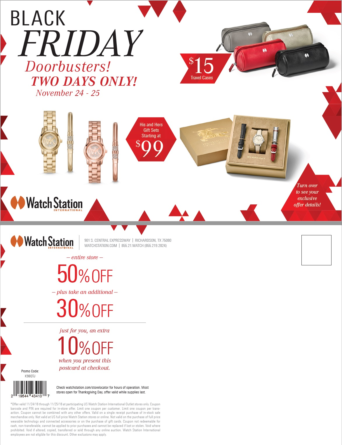 Watchstation   holiday 2016   black friday direct mailer postcard