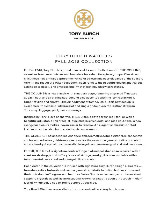 Tory burch   fall 2016   watches press release photo