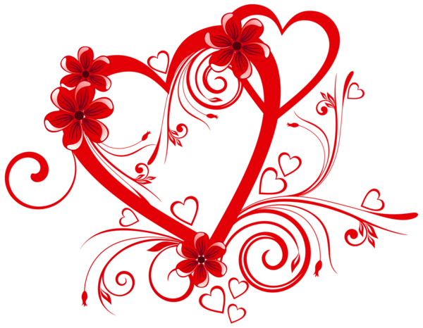 Heart with flowers png clipart