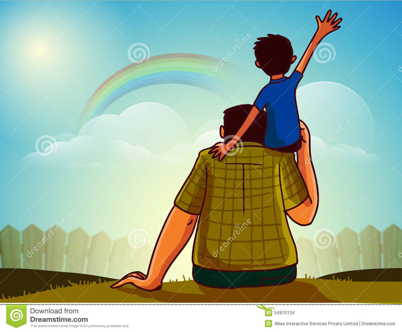 Father son happy father s day celebration cute little boy sitting his shoulder watching rainbow behind clouds 54970134