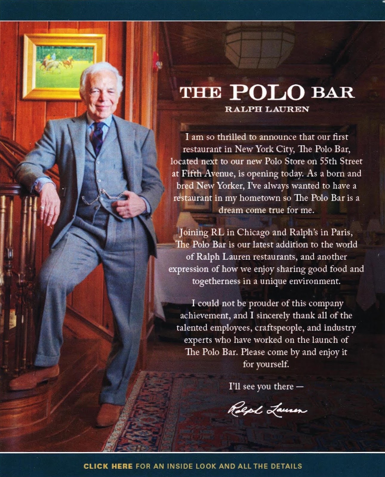 email from mr. lauren announcing the polo bar  281 29