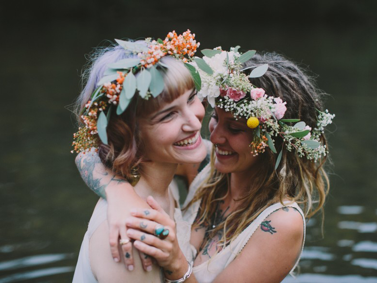 Girlfriends in flower wreaths