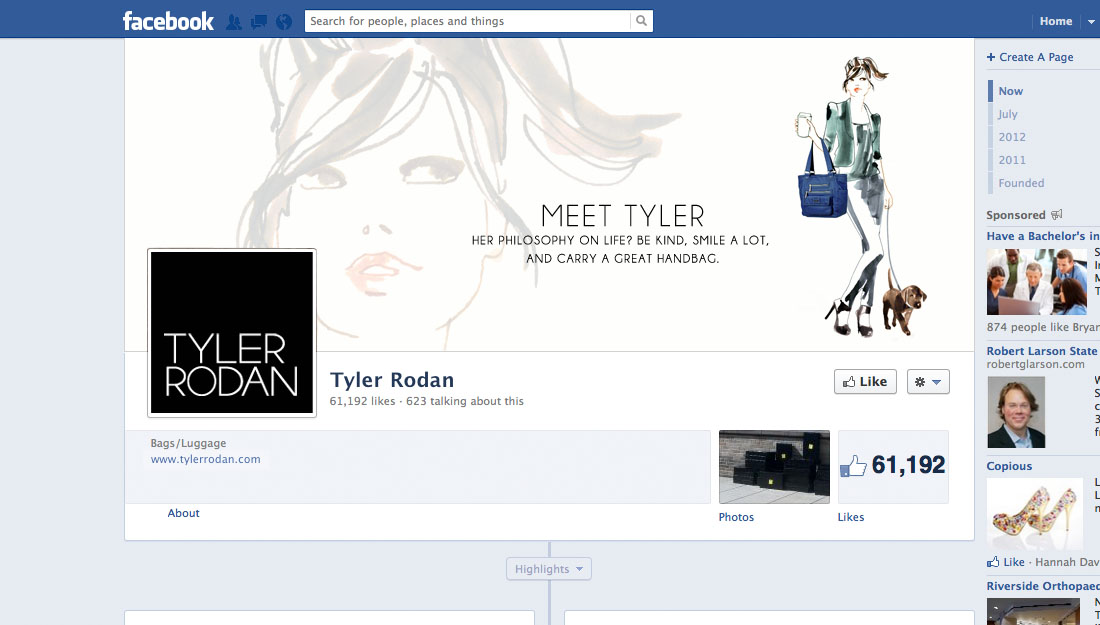 Facebook page for tyler rodan bags