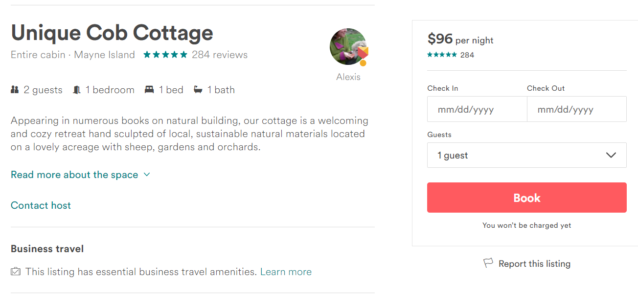 Listing on Airbnb's website, via Airbnb