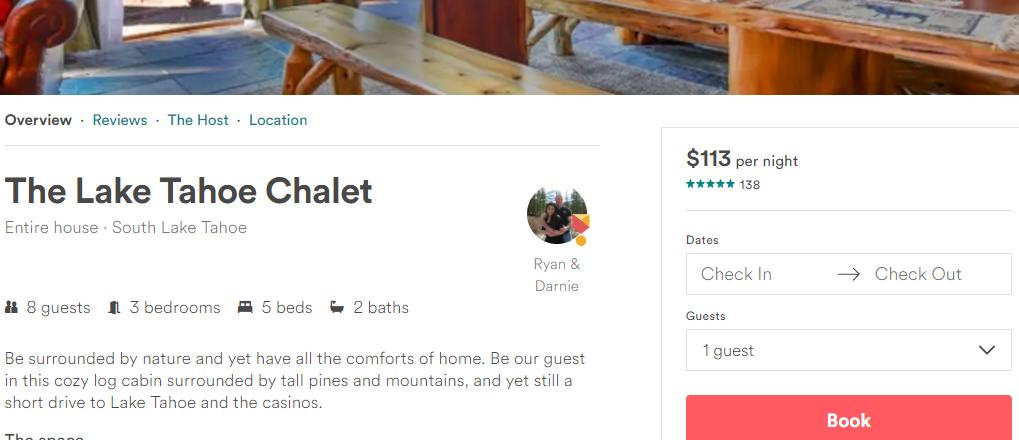 Screenshot of an Airbnb listing via Airbnb's website