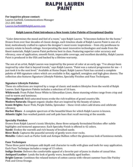 Ralph lauren home paint press release