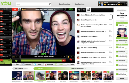 YouNow's livestreaming dashboard