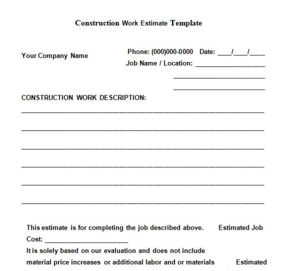 The Construction Work Estimate Template Is A Top Free