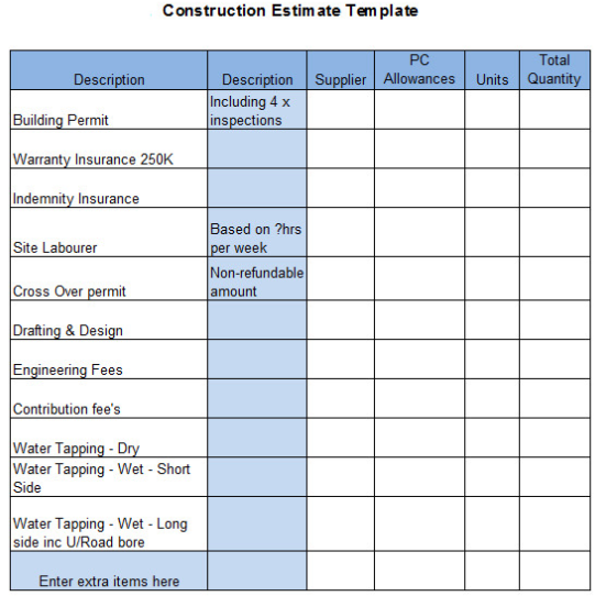 The top 6 free construction estimate templates capterra blog for New home spec sheet