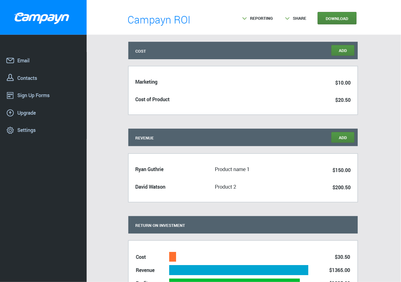 A quick look at Campayn's ROI reporting functionality