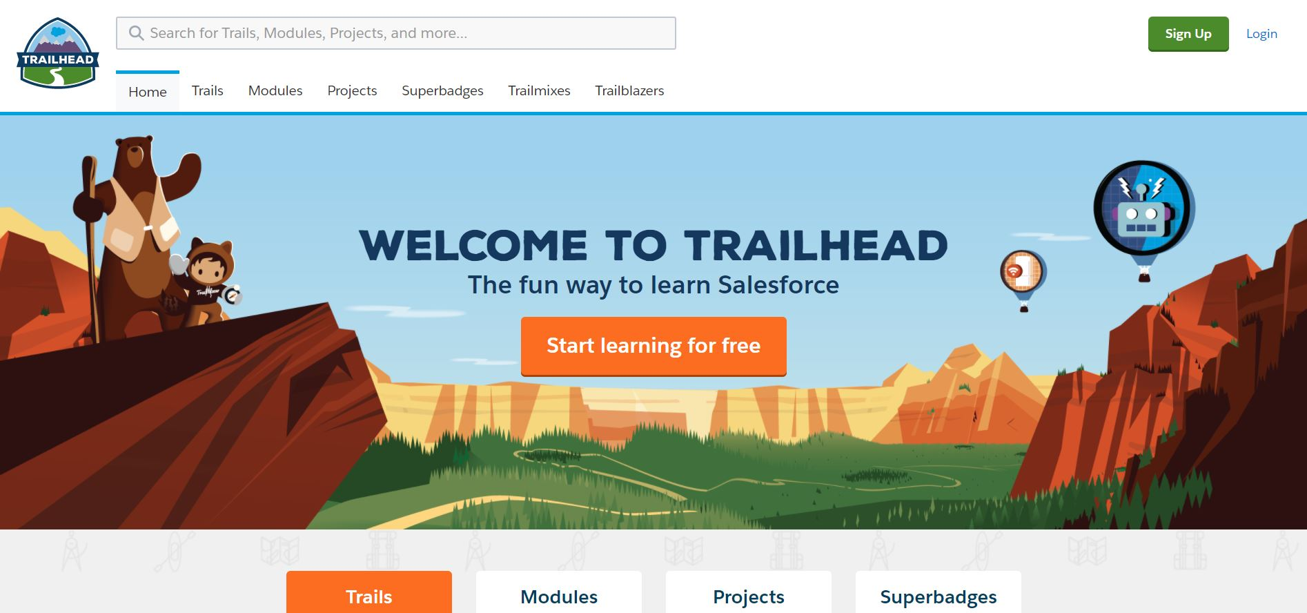 Screenshot of Salesforce's online learning portal, Trailhead