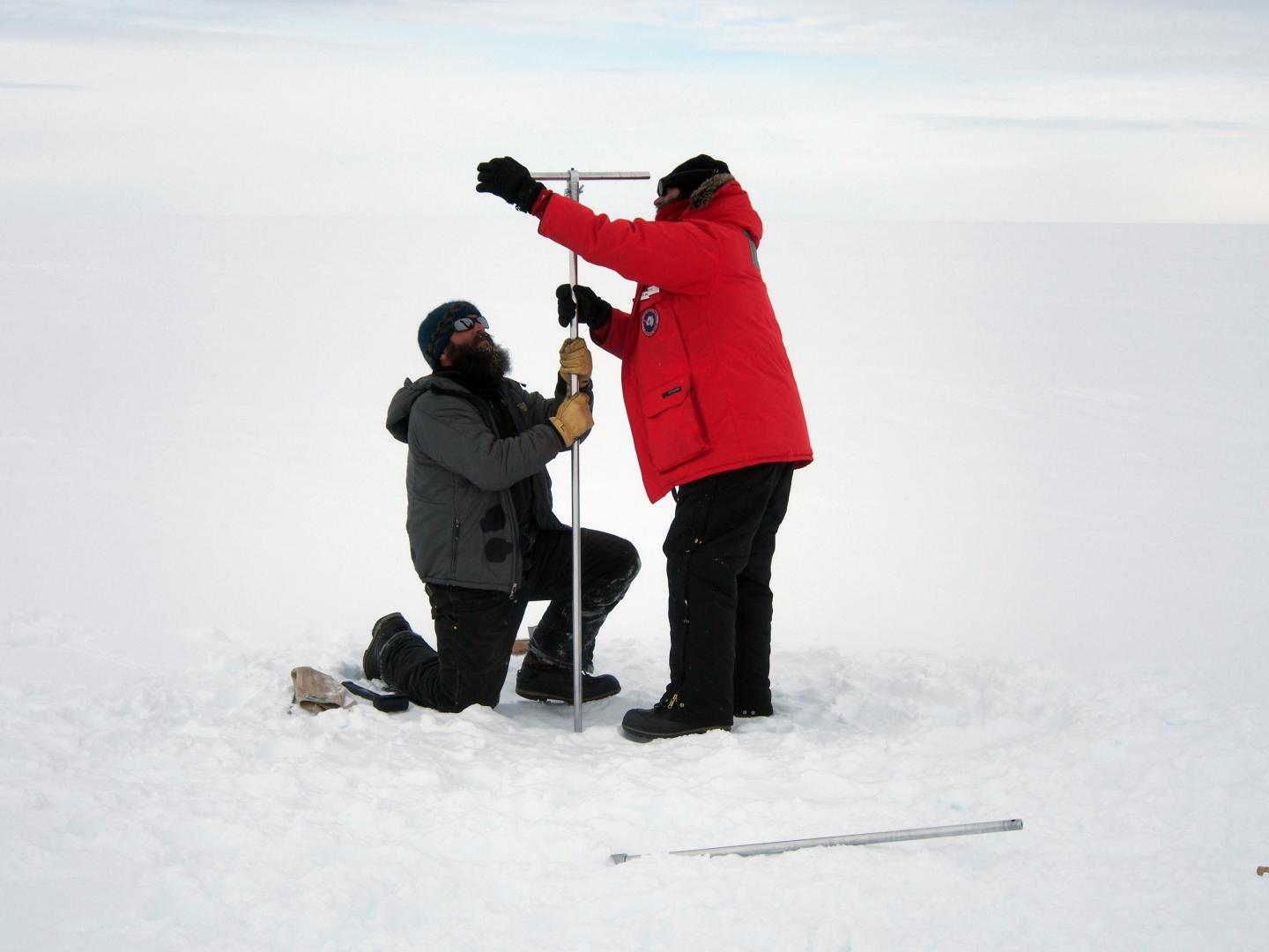 Drilling a shallow ice core