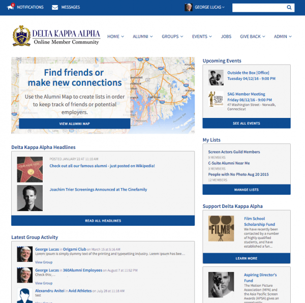 360Alumni's alumni portal homepage