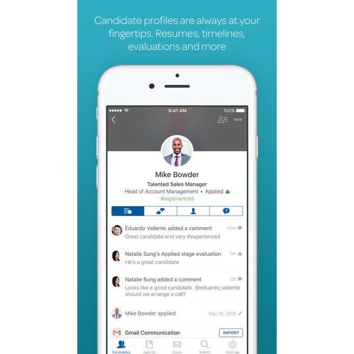 A screenshot of a Workable candidate profile