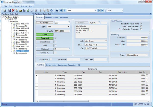 Purchase order entry in Epicor